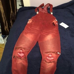 NWT Red Overall Jumpsuit